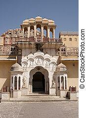palacio, jaipur, mahal, vientos, rajasthan, india., hawa