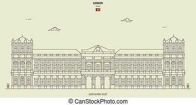 palacio, lisboa, señal, nacional, ajuda, portugal., icono