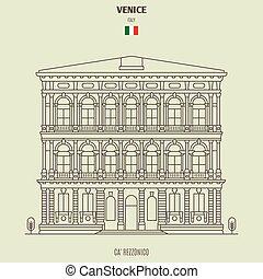 palacio, rezzonico, venecia, italy., señal, icono, ca'