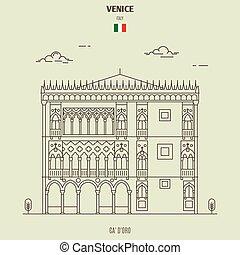 palacio, venecia, italy., señal, d'oro, icono, ca'