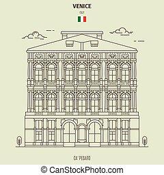 palacio, venecia, italy., señal, pesaro, icono, ca'