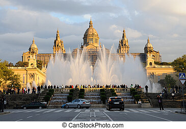 palau, nacional, barcelona, fuente, magia, españa