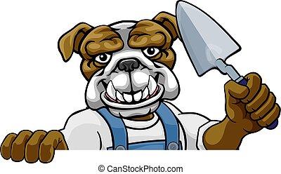 paleta, albañil, constructor, herramienta, bulldog, tenencia