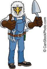 paleta, albañil, herramienta, tenencia, constructor, águila