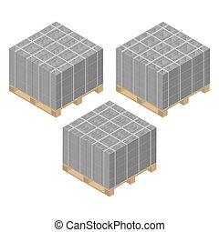 Paleta de madera isométrica con bloques de cemento, ilustración vectorial.