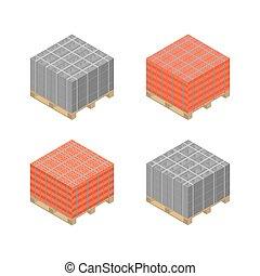 Paleta de madera isométrica con bloques de cemento y ladrillos, ilustración vectorial.