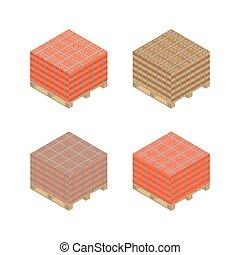 Paleta de madera isométrica con ladrillos, ilustración vectorial.