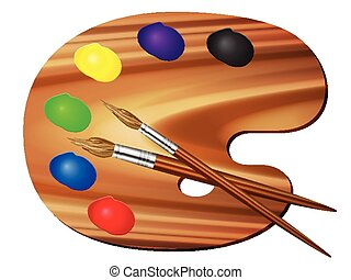 Paleta de pintura y cepillo
