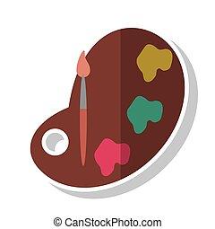 Paleta de pintura y diseño de pinceles