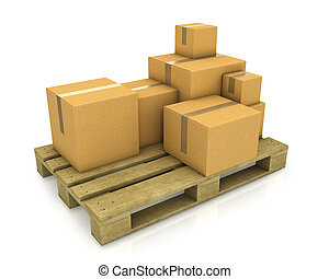 paleta, diferente, de madera, dimensionar, cajas, cartón, pila
