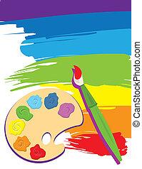 Palette, pincel y lienzo