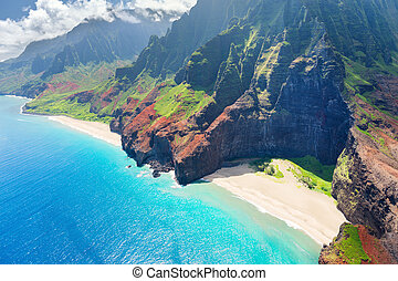 pali, na, isla, kauai, costa