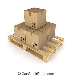 pallet., cajas, cartón