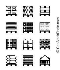 Pallets con diferentes materiales de construcción
