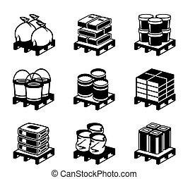 Pallets con materiales de construcción