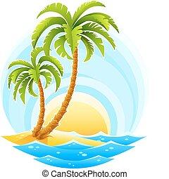 Palma tropical con onda marina en fondo soleado