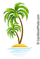 Palma tropical en la isla