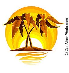 Palma tropical en una isla en el océano con atardecer