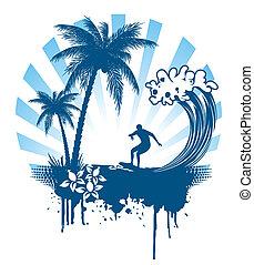 Palma y surf en grunge