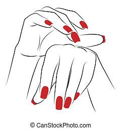 palmas, mujer, rojo, manicura