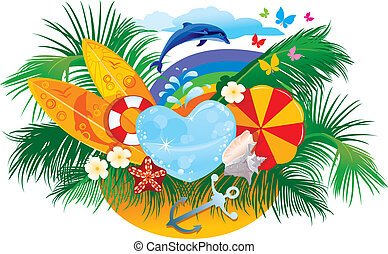 palmas, plano de fondo, verano, sol