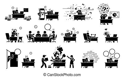 palo, icons., pictogram, o, figura, hombre de negocios, ejecutivo, trabajador, oficina, ceo, ocupado