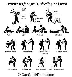palo, torcedura, tratamientos, icons., sangría, figuras, quemadura