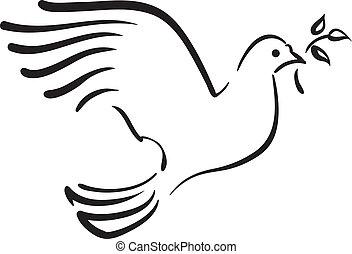 Paloma blanca del vector con rama