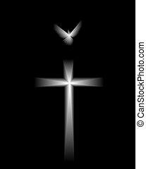 Paloma blanca y cruz