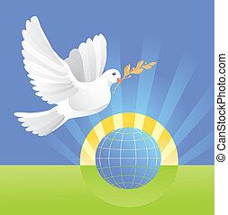 Paloma de paz cerca del globo
