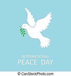 Paloma de paz con rama de olivo para el día internacional de paz