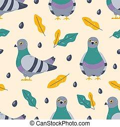 paloma, pájaro, leafs, seamless, patrón