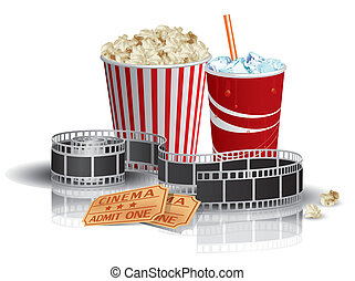 Palomitas, bebida, películas, entradas