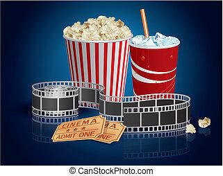 Palomitas de maíz, bebida y cine