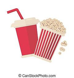 Palomitas de maíz y refresco para vector de película icono plano
