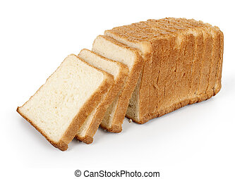 Pan cortado aislado en blanco