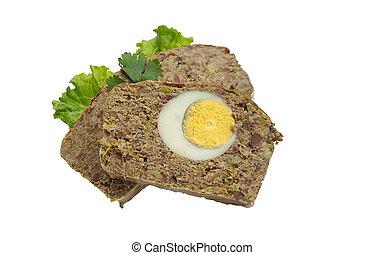 Pan de carne asado con huevos hervidos