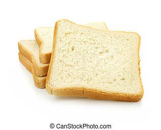 Pan rebanado fresco de fondo blanco