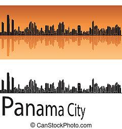 Panamá City Skyline en fondo naranja