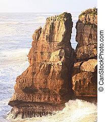 Pancake rock en la costa oeste de Nueva Zelanda
