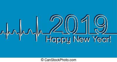 Pancarta de Navidad Médica, 2019 feliz año nuevo, vector 2019, ritmo de onda médica, concepto de estilo de vida saludable