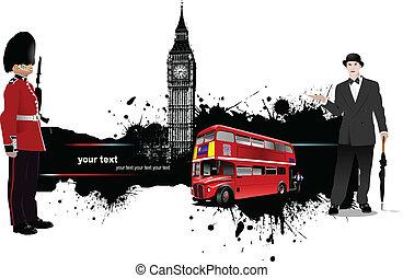 Pancarta grunge con Londres e imágenes de autobús