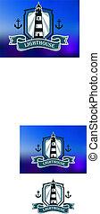 Pancarta marina con faro y ancla