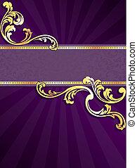 Pancarta púrpura y dorada vertical