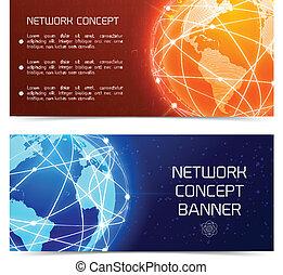 Pancartas conceptuales de Network Globe