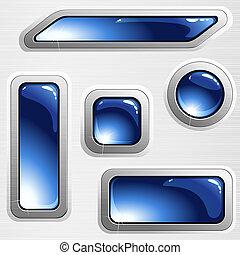 Pancartas de acero y botones azules