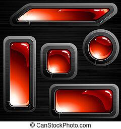 Pancartas de acero y botones negros