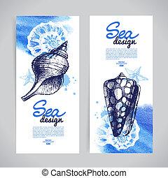Pancartas de concha marina. Diseño náutico marino. Dibujo a mano y vat