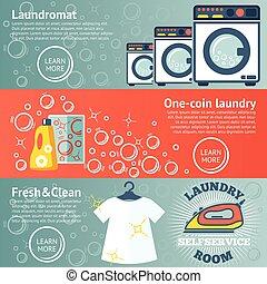 Pancartas de lavandería con lavandería, detergentes, hierro y ropa. Vector