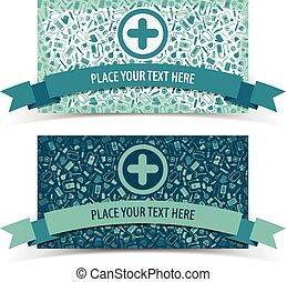 Pancartas medicinales puestas